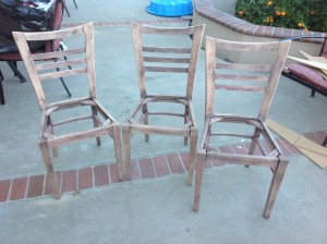 Here are the 3 Chairs sanded time to now paint them which will be in part 2.