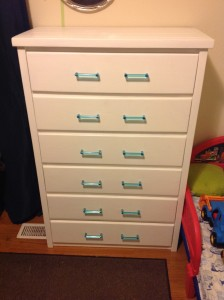 Here is the completed Polar Bear White dresser.